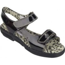 e2077 Tuscany Black Faux Croc Ladies Golf Sandal